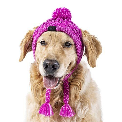 Canada Pooch Polar Pom Pom Dog Hat Warm Knit Dog Hat Pink
