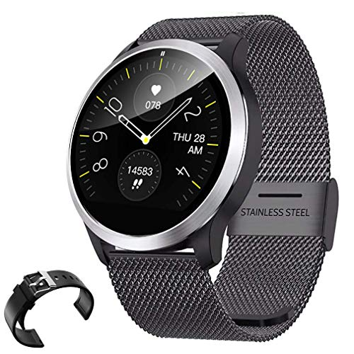 QKa Orologio Intelligente con Diagramma di Riproduzione ECG, Monitor della frequenza cardiaca della Pressione sanguigna, luminosità Regolabile Wristband in Acciaio Inossidabile SmartWatch IP68,B