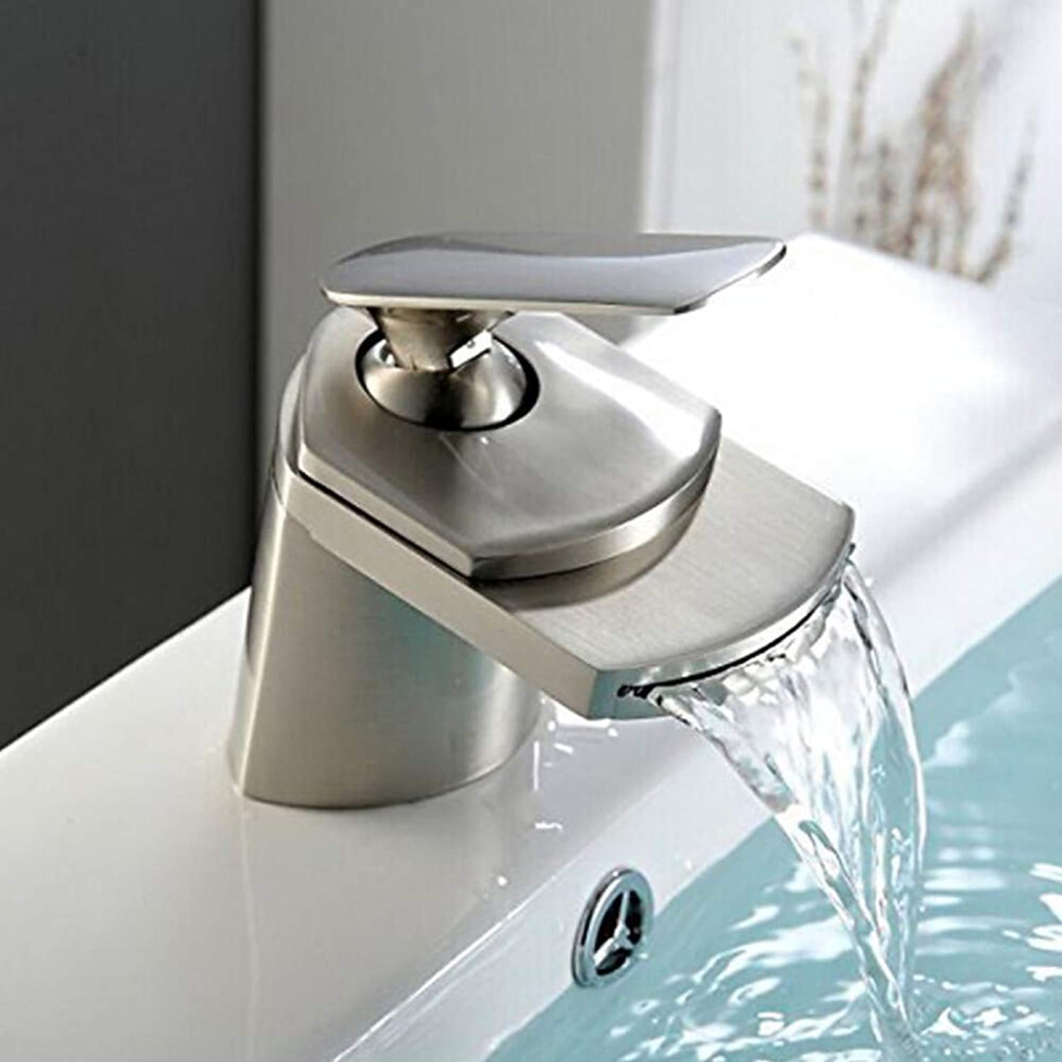 Novopus Bathroom faucet:Contemporary Centerset Waterfall Ceramic Valve Single Handle One Hole Nickel Brushed, Bathroom Sink Faucet,2