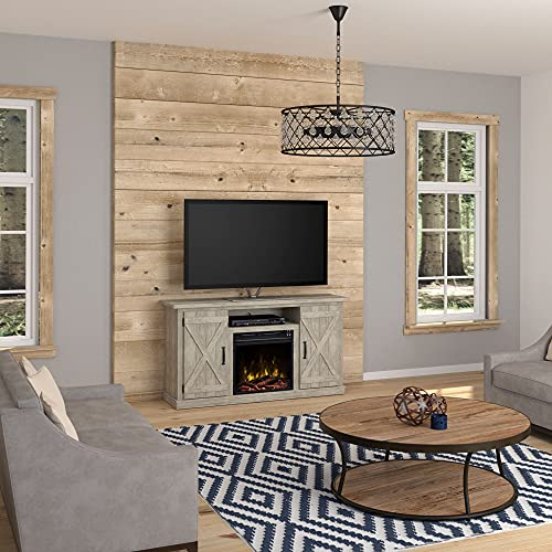 Twin Star Home Cottonwood 55' TV Stands with Electric Fireplace, Ashland Pine