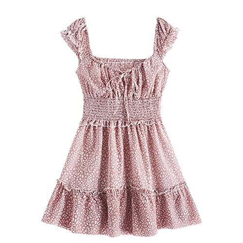 ZAFUL Damen Blumen Sommerkleid Printed Sleeveless Minikleid Strandkleid(Rosa,M)