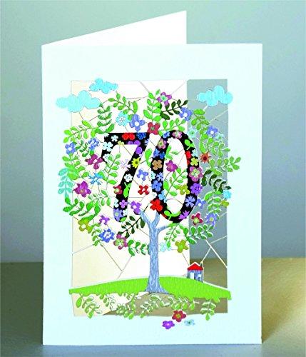 Forever 70 Geburtstag Laser Cut Karte 3D Geburtstagskarte Blumen Lebensbaum 16x11cm