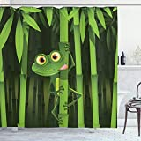ABAKUHAUS Duschvorhang, Illustration des Fre&lichen Spaß Frosches auf Stamm der Bambusdschungel Bäume Digital Druck, Blickdicht aus Stoff inkl. 12 Ringen Umweltfre&lich Waschbar, 175 X 200 cm