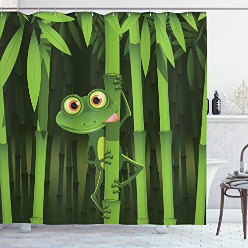 ABAKUHAUS Duschvorhang, Illustration des Freundlichen Spaß Frosches auf Stamm der Bambusdschungel Bäume Digital Druck, Blickdicht aus Stoff inkl. 12 Ringen Umweltfreundlich Waschbar, 175 X 200 cm