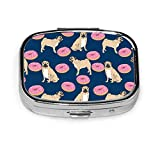 Pug Dog Donuts Navy Blue Pink Sprinkles Junk Food Sweet Treat Pill Boxes, Portable Rectangular Metal Silver Pills Case, Compact 2 Space, Pill Cases for Travel/Pocket/Purse
