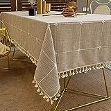 Pahajim Mantel Mesa Algodon Lino Manteles Cuadrada Diseño de Borlas Elegante Antimanchas Cubierta de Mesa Lavable Resistente para Decoración de la Mesa de Comedor (Celosía marrón, 100x160cm)