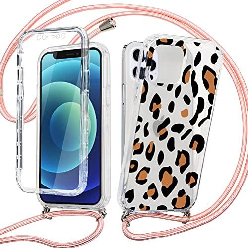 ZhuoFan 360° con Cuerda para iPhone 12 Pro MAX Carcasa Transparente 360 Grados Protectora Antigolpes Delantera Trasera Case Silicona Bumper Dibujos con Colgante Ajustable Collar Correa, Leopardo