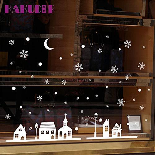 Fensteraufkleber Weihnachtsshop Dekoration WandaufkleberSchneeflockenstadt