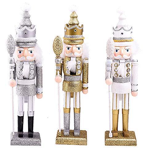 Langde 3er Set 42cm Nussknacker Holzfigur Soldat,  Nußknacker Wood Dekorativ, Traditionell Puppe Figur Klassisch aus Holz zum Weihnachten, Nutcracker Christmas Decoration - Silber Gold Weiß