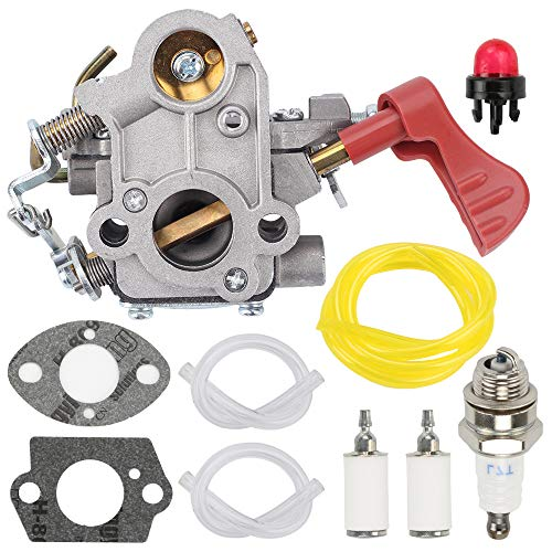 Fuel Li 545008042 545189502 Carburetor for Poulan Pro PP338PT PP033 PP133 PP333 Gas Trimmer Zama C1M-W44 33cc Carb with Tune-Up Kit