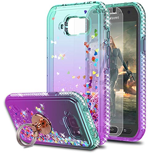 S6 Active Case Galaxy S6 Active Case with HD Screen Protector with Ring Holder,KaiMai Glitter Moving Quicksand Clear Cute Shiny Girls Women Phone Case for Samsung Galaxy S6 Active-Aqua/Purple Ring