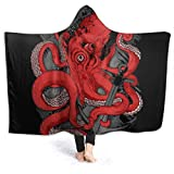 CLERO& Flannel Fleece Hooded Blanket Sea Monster Octopus Kraken with Tentacles Kids Adults Throw Wrap for Bed Couch Chair Living Room Wearable Throw Blankets 80 x 60 inch
