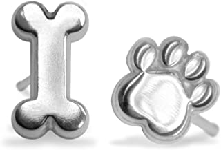 "Alex Woo""Mini Addition"" Sterling Silver Dog Bone and Paw Stud Earrings"