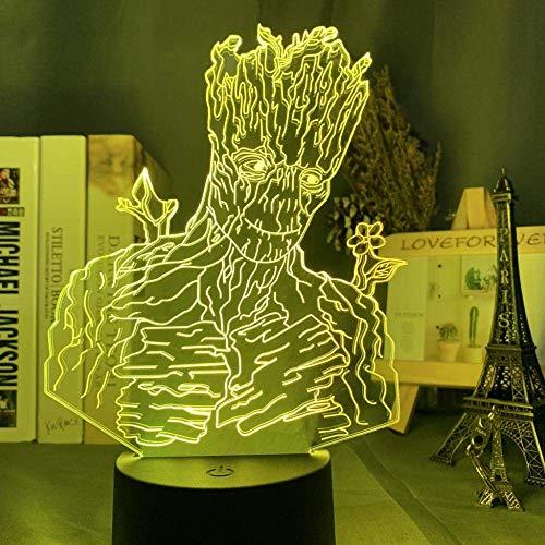 Lámpara de ilusión 3D Luz de noche LED para decoración de habitación de niños Guardianes de la galaxia Los Vengadores Superhéroe Groot Regalo 7 colores Cumpleaños para niños Regalos de vacaciones