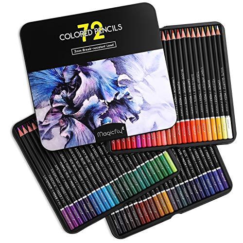 Magicfly 72 Buntstifte-Set für Zeichnungen und Skizzen, Weiche Wachsbasierte Farbstifte für Experte, Profi, Premier und Auch für Kinder, Erwachsene, Anfänger, Beginner, in Aufbewahrungsbox