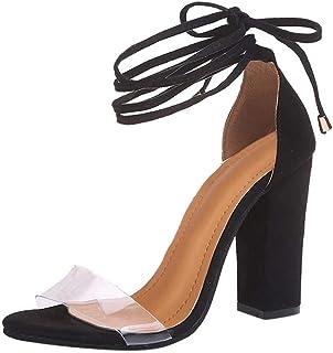 6ffc8b1d355d6 Minetom Femme Poissons Bouche Sandale Bloc Talons Hauts Printemps Été Shoes  Mode Décontractée Transparentes Lacets Chaussures