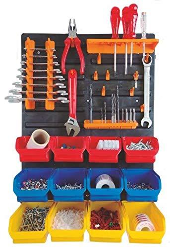 Mini-werkplaats-organizer voor het opbergen en organiseren van gereedschap en gereedschappen, incl. haken, pluggen en schroeven voor de installatie, afmetingen paneel 400 x 590 x 20 mm