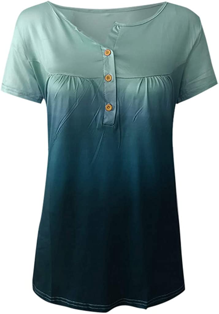 YUehswet Womens Short Sleeve Tops,Womens Plus Size Tops Short Sleeve Gradient Tees Pleated Button Up Shirts Tunics Top