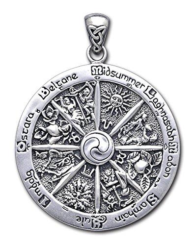 Alterras - Anhänger: Wicca-Keltenfeste, rund aus 925-Silber