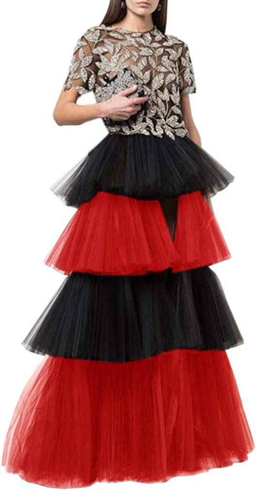 WDPL Women's Puffy Wedding High Low Layered Tulle Night Out 4 Layers Skirt