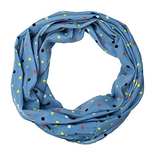 MANUMAR Loop-Schal für Damen | Hals-Tuch in türkis mit Punkte Motiv als perfektes Herbst Winter Accessoire | Schlauchschal | Damen-Schal | Rundschal | Geschenkidee für Frauen und Mädchen