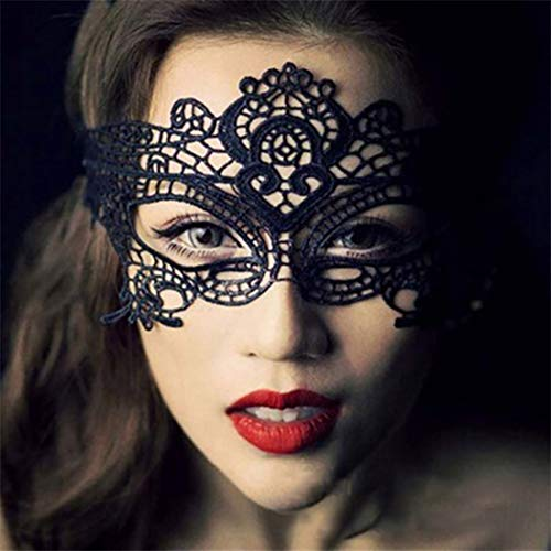 Ibliss Masquerade Lace Mask Sex Venetian Party Eye Mask Halloween Prom Ball Accessory for Women 2PCS (Black and White)