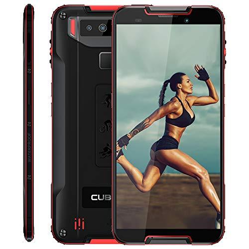 CUBOT Quest 4G IP68 Móvil Todorerreno para Viajes o Deporte Smartphone Impermeable 4GB+64GB 5.5 Pulgadas Android Dual SIM Dual Cámara 12Mp 4000mAh con Botón Personaliado NFC Type-C Negro y Rojo