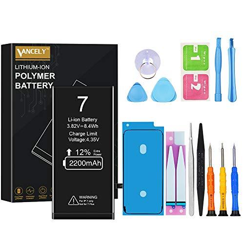 Vancely batterij voor iPhone 7, originele 2200 mAh vervangende batterij met hoge capaciteit, gereedschapsset en reparatieset, batterijvervangingshandleiding, 2 jaar garantie 100%