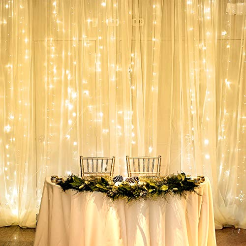 LE LED Curtain Lights, 19.7x9.8ft, 594 LED, 8 Modes, Plug in Twinkle Lights, Warm White, Indoor Outdoor Decorative Wall Window String Lights for Bedroom, Party, Wedding Backdrop, Patio Dcor and More
