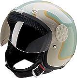 HCI Open Face Fiberglass Motorcycle Helmet Green/Gold w/Face Shield 15-660 (Lg)