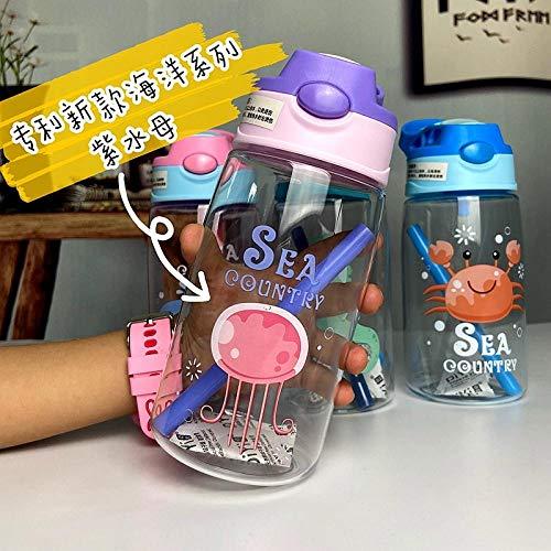 Botella de Deportiva-Motivacional, Antigoteo -para Niños, Colegio, Escolar, Gym, Oficina -Agua púrpura_480ml
