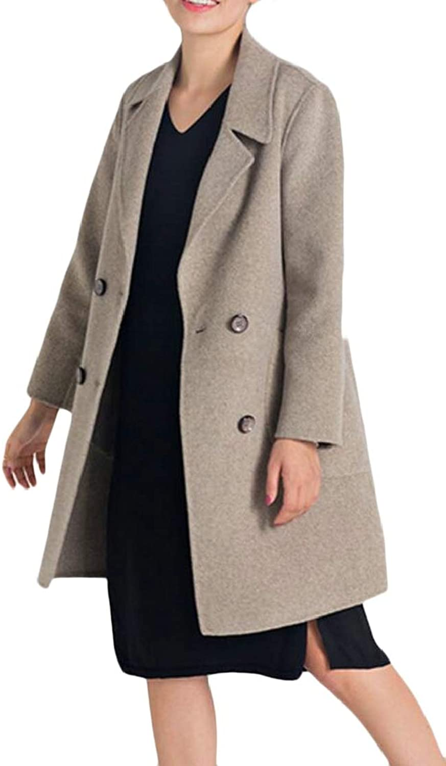 Women Lapel Trench Coat Double Breasted Wool Pea Coats