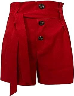 TOPUNDER Women's High Waist Slim Fit Belted Beach Zipper Fly Bow Button Shorts Pants