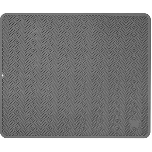 S&T INC Silicone Dish Drying Mat or Trivet for Kitchen Durable Heavy Duty Non-Slip Dishwasher Safe and Heat Resistant Extra Large 18 Inch x 21 Inch Grey