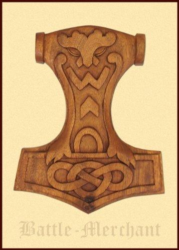 Modelo de madera Mjölnir con nudos, mano tallado Thor martillo Vikingo Odin