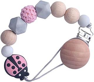 EXCEART Speenkoord Kralen Speenkoordjes Bijtring Houders Siliconen Bijtringkraaltjes Bijtringclips Voor Meisjes Jongens Roze