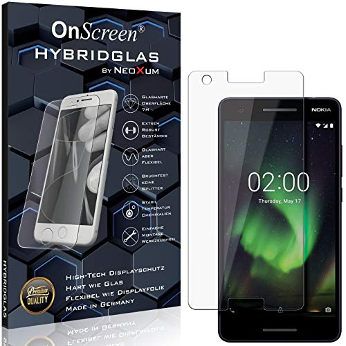 OnScreen Schutzfolie Panzerglas kompatibel mit Nokia 2.1 Panzer-Glas-Folie = biegsames HYBRIDGLAS, Bildschirmschutzfolie, splitterfrei, MATT, Anti-Reflex - entspiegelnd