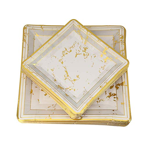 60 PC Disposable Party Paper Plates, Eco-Friendly, Gold and Gray Paper Plates, 30-10 inch Dinner and 30-7 inch Appetizer Square Plates, Marble Design Plates - Posh Setting