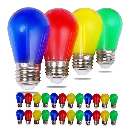 Visther S14 LED Colored String Light Bulb, 1W Plastic Shatterproof Incandescent Replacement, E26 Base, Edison Bulbs for Outdoor Indoor Patio Christmas String Lights, 24 Pack, Red/Blue/Yellow/Green
