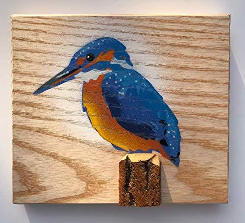 Pintura Martín pescador 'Kingfisher' Stencil en Ash Wood - Pintado a mano Cuadro de Aves Ideal regalo para él / ella / Día de la Madre / Pascua - Hecho a mano en Malmesbury UK - 14 x 12cm