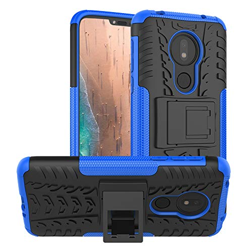 Moto G7 Power Case,Moto G7 Supra Case,Moto G7 Optimo Maxx case,PUSHIMEI with Kickstand Hard PC Back Cover Soft TPU Dual Layer Protection Phone Cover for Motorola Moto G7 Power(Blue Kickstand case)