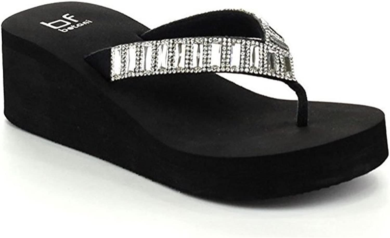 B&F Women's Bling-Bling Rhinestone Flip Flop Thong Sandals