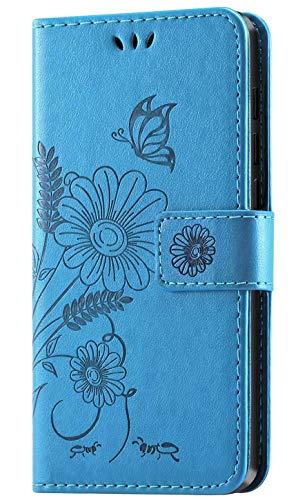 kazineer Hülle für Huawei Mate 20 Lite, Leder Tasche Handyhülle für Huawei Mate 20 Lite Schutzhülle Blumenmuster Etui Hülle (Türkis-blau)