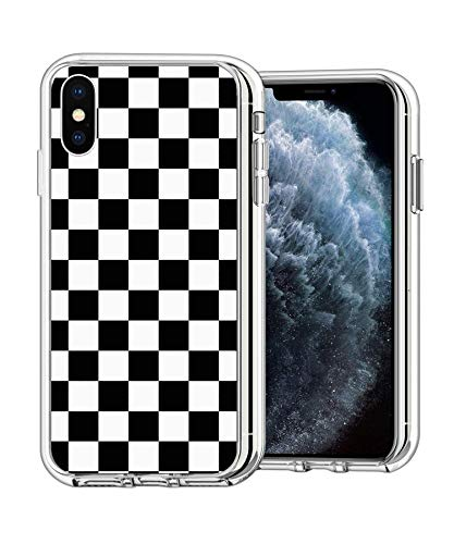 Case Phone Clear Anti-Scratch Motion Limited Edition Black Checkered Cases for iPhone X/Xs 5.8'