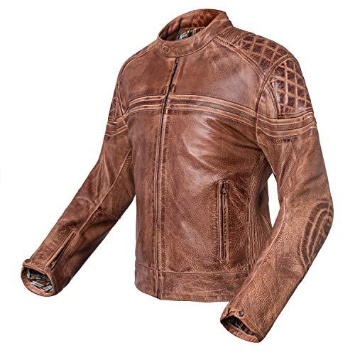 Veste de moto en cuir Vintage Invictus Eros taille XL