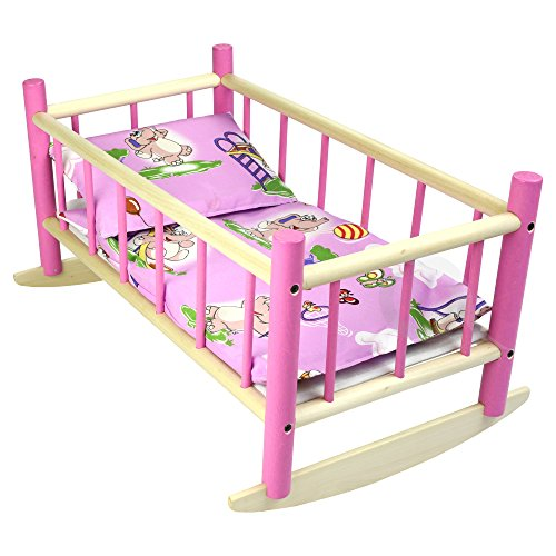 CuddlyZOO NEW LARGE WOODEN PINK ROCKING BED COT Fits Up to 50cm 19' Doll (pink elephant)