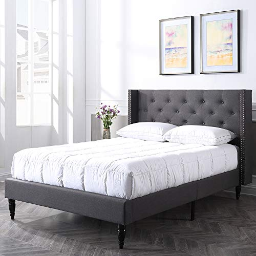 Classic Brands Berkeley Upholstered Platform Bed   Headboard and Metal Frame with Wood Slat Support, Queen, Grey