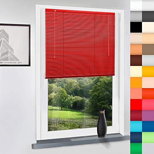 Sun World Aluminium Jalousie nach Maß, Jalousien Alu Jalousien nach maß innen Innenjalousien Maßanfertigung, für Fenster und Türen, Klemmfix ohne Bohren (Rot, Höhe: 130cm x Breite: 70cm)
