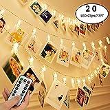20 LEDs Photo Clips String Lights avec télécommande, Fée 7.2ft ficelle scintille...