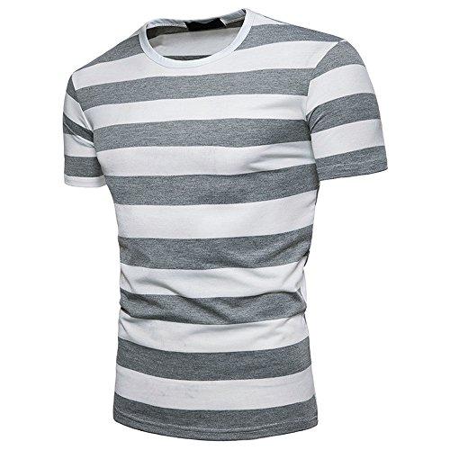 Preisvergleich Produktbild Realde Herren Kurzarm T-Shirt Beiläufige Rundhals Ausschnitt Gestreift Slim Fit Atmungsaktiv Leicht Sportlich Oberteil Frühling Oversize Bequem Fitness Basic für Männer